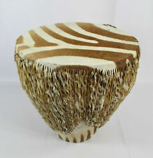 More details for 20th century zebra hide brown and white drum/table south african