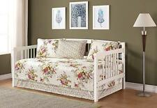 Fancy Linen 5pc Day Bed Cover Floral Off White Green Purple Pink Reversible New