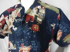 Santa Shirt Christmas Las Vegas Slot Poker Gambling Casino High Roller S/S  Sz L