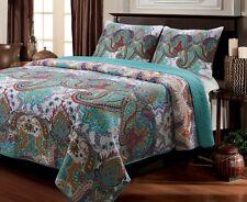 Aqua Paisley Quilt Set 3 Piece Full Queen Size 100 % Cotton Shams Reversible