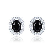 2017 Hot Pretty Girl's White Gold Filled Stud Earring Oval Black CZ Wedding Gift