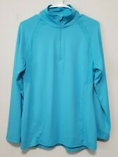 Women's Champion Long Sleeve Blue Half Zip Pull Over Activewear Top Breathable M