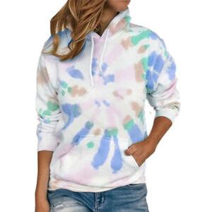 Women Long Sleeve Floral Pockets Hoodie Sweatshirt Pullover Blouse Casual Tops