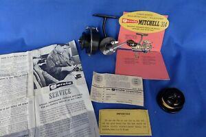 Vintage Mitchell Garcia 314 Fishing Spinning Reel Extra Spool & Paperwork