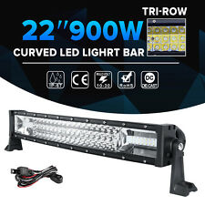 7D 22inch 900W CREE Curved LED Light Bar TRI-ROW Combo Offroad Driving 4x4WD 24""