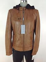 Andrew Marc New WT Cognac Real Genuine Leather Jacket with Black Bib & Hood S, M