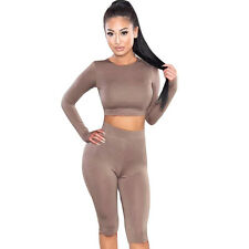 NEW Women Sports Suit Crop Top Pants Two Piece Outfit Yoga Workout Clothes XL*