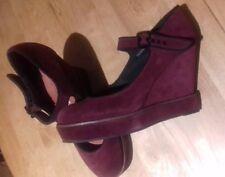 Deena & Ozzy (Urban outfitters) Burgundy Mary-Jane Platform Wedge Heels