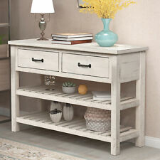 Retro Console Table with Drawers and Shelf Living Room Furniture (Antique White)