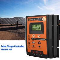 Solar Charge Controller Dual USB Panel 70A MPPT IP32 12/24V Battery Regulator