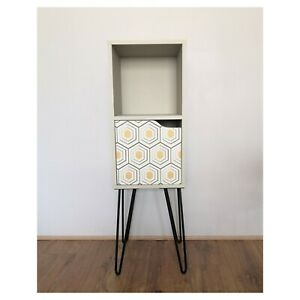 Redesigned Little Tall Boy Cabinet With Hair Pin Legs geometrical pattern