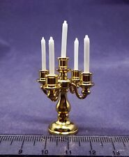 Dolls House Miniature Dining Room Accessory Mini Mundus 5 Arm Brass Candelabra