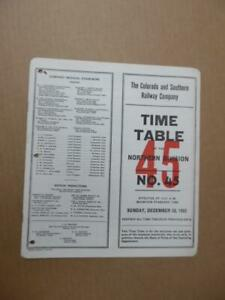 1953 Colorado and Southern Railway Employee Timetable 45 Northern Division C&S