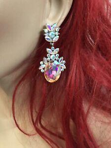 "2.25"" Long Aurora Borealis AB Silver Dangle Pierced Crystal Chandelier Earrings"