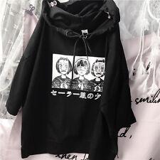 Japan Harajuku Girls Cute T-shirt Cartoon Printing Black Loose Hooded T-shirt