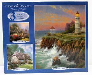 Thomas Kinkade 3 Jigsaw Puzzle Set Candlelight Cottage Spring at Stonegate Victo