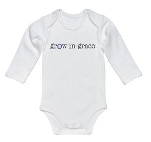 CHRISTIAN CHILD'S BODYSUIT, Grow In Grace, INFANT ROMPER, BABY RAGLAN, Creeper
