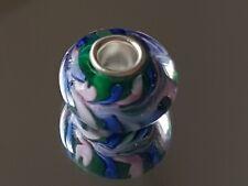 BLUE/PINK SWIRLS - Murano Glass Silver Plated Charm Bead