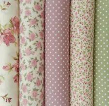 Rose & Hubble Vintage 5 Fat Quarter Bundle Pink Floral Polka Dots Cotton Poplin