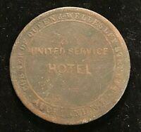 Australia & NZ Token: 1874 1d United Service Hotel, Auckland, NZ.