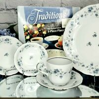 Johann Haviland 90s Blue Garland Porcelain China 5 Piece Place Setting Holidays
