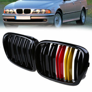 For BMW E39 5 Series 1997-2002 Pair Gloss Black Front Grille Grills Double Line