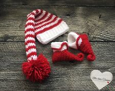 Newborn Baby Christmas Elf Hat And Booties Photo Prop Holiday Gift Baby Outfit