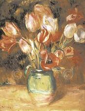 Tulips in a Vase Pierre-Auguste Renoir Vintage Impressionist Print Poster 16x20