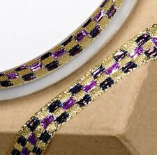 NEW GOLD & PURPLE LUREX CHECKED PATTERNED RIBBON 10mm x 10M craft gift wrap
