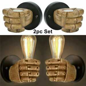 2pc Right+Left Hand Vintage Fist Resin Wall Lights Aisle/Balcony light Wall Lamp