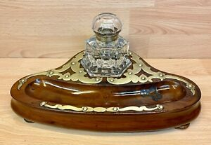 Victorian walnut Desk Stand with large Fitted Cut Glass Inkwell.
