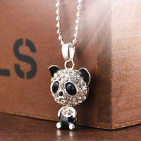 Fashion Women Silver Panda Rhinestone Pendant Necklace Sweater Chain Jewelry