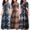 Women's Summer Long-sleeved V-neck Dress Argyle Printed Dress Longuette Y863