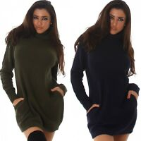 Womens Pullover Long sleeve knitted winter warm long Jumper Dress Loose Sweater