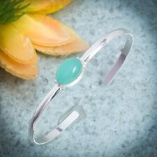 Sparkling Aqua Chalcedony Gemstone 925 Sterling Silver Handmade Bracelet Cuff