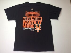 Majestic MLB Mets T-Shirt Size L New York Wants It More Post 2015 World Series