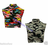 Womens Ladies Army Multi Camouflage Front Knot Crop Top Bra Bralet Polo-Neck