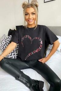 Womens T Shirt Ladies Oversized Baggy Fit Short Sleeve Slogan T-shirt Tee Tops
