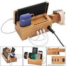 3 in1 Bamboo Wood Charging Dock Stand Fast Charger for iPhone Apple Watch Airpod