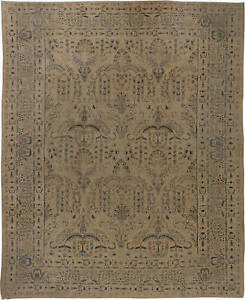 Antique Kirman Camle, Black and Blue Handwoven Wool Rug BB6252