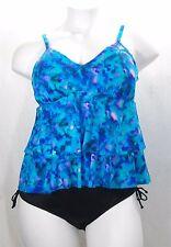 Miraclesuit 370277 Ruffled 2pc Tankini Swim Suit 18w Blue & Side Tie Bottom