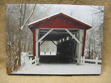 Covered Bridge Canvas Painting Snow Winter Trees Head on View