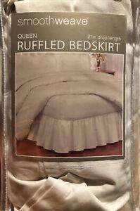"Smoothweave Ruffled Queen Bed Skirt in Ivory 14in 14"" drop. Open Box"