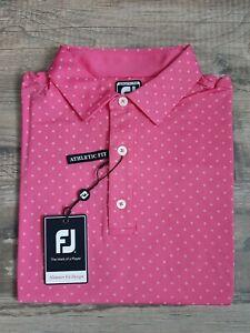 NEW FootJoy Mens Lisle Diamond Print Golf Polo Medium Island Pink 25723