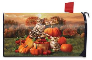 Fall Kittens Pumpkins Magnetic Mailbox Cover Apple Basket Autumn Standard