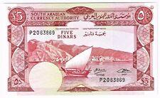 Yemen Democratic Republic: 5 Dinars ND (1965). Gem Uncirculated