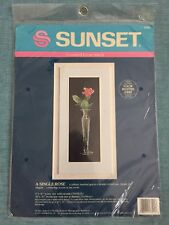 A Single Rose Sunset Counted Cross Stitch Kit #13521 1990 Dimensions NIP