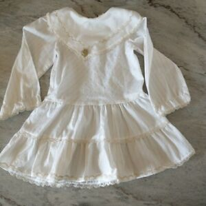 Vintage Toddler Winnie the Pooh White Gold Dress Size 4 collar lace striped