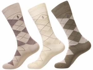 Polo Ralph Lauren Men's Dress Crew Socks Argyle 3-Pairs