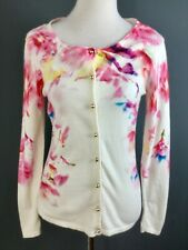 Caroline Biss Cream Vibrant Floral Print Yellow Fine Knit Cardigan UK 8 10